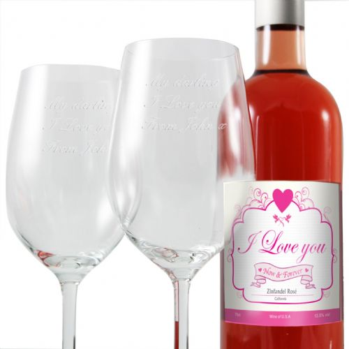 I Love Rose Wine and Two Glasses